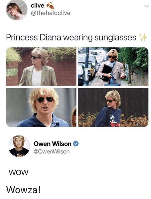 wearing sunglasses: clive  @thehaloclive  Princess Diana wearing sunglasses  si  Owen Wilson  @owenWilson  WOW Wowza!