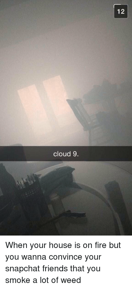 Fire, Friends, and Funny: cloud 9.  12 When your house is on fire but you wanna convince your snapchat friends that you smoke a lot of weed