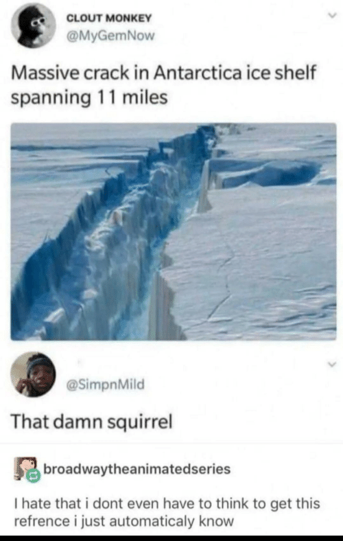 Monkey, Squirrel, and Antarctica: CLOUT MONKEY  @MyGemNow  Massive crack in Antarctica ice shelf  spanning 11 miles  @SimpnMild  That damn squirrel  broadwaytheanimatedseries  I hate that i dont even have to think to get this  refrence i just automaticaly know