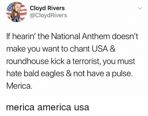 roundhouse: Cloyd Rivers  @CloydRivers  If hearin' the National Anthem doesn't  make you want to chant USA &  roundhouse kick a terrorist, you must  hate bald eagles & not have a pulse.  Merica. merica america usa