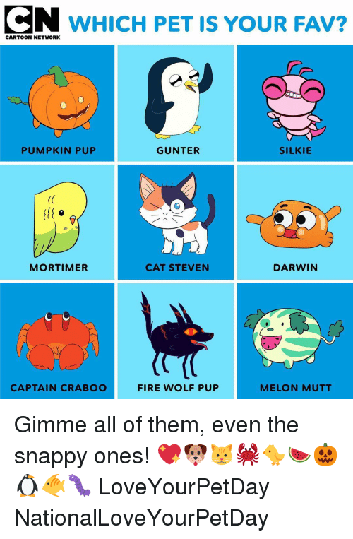 darwin: CN WHICH PET IS YOUR FAV?  CARTOON NETWORK  PUMPKIN PUP  GUNTER  SILKIE  (C  MORTIMER  CAT STEVEN  DARWIN  CAPTAIN CRABOO  FIRE WOLF PUP  MELON MUTT Gimme all of them, even the snappy ones! 💖🐶🐱🦀🐤🍉🎃🐧🐠🐛 LoveYourPetDay NationalLoveYourPetDay