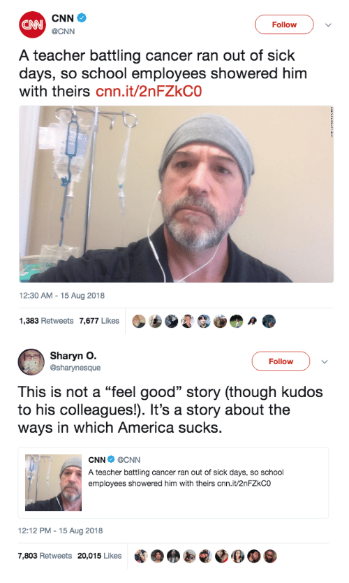 """America, cnn.com, and School: CNN  @CNN  CANN  FollowV  A teacher battling cancer ran out of sick  days, so school employees showered him  with theirs cnn.it/2nFZkCO  12:30 AM - 15 Aug 2018  1,383 Retweets 7,677 Likes   Sharyn O.  @sharynesque  Follow  This is not a """"feel good"""" story (though kudos  to his colleagues!). It's a story about the  ways in which America sucks.  CNN @CNN  A teacher battling cancer ran out of sick days, so school  employees showered him with theirs cnn.it/2nFZkCO  12:12 PM -15 Aug 2018  7,803 Retweets 20,015 Likes 藍囚  OOO"""