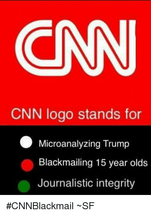 cnn.com, Memes, and Integrity: CNN  CNN logo stands for  Microanalyzing Trump  Blackmailing 15 year olds  Journalistic integrity #CNNBlackmail ~SF