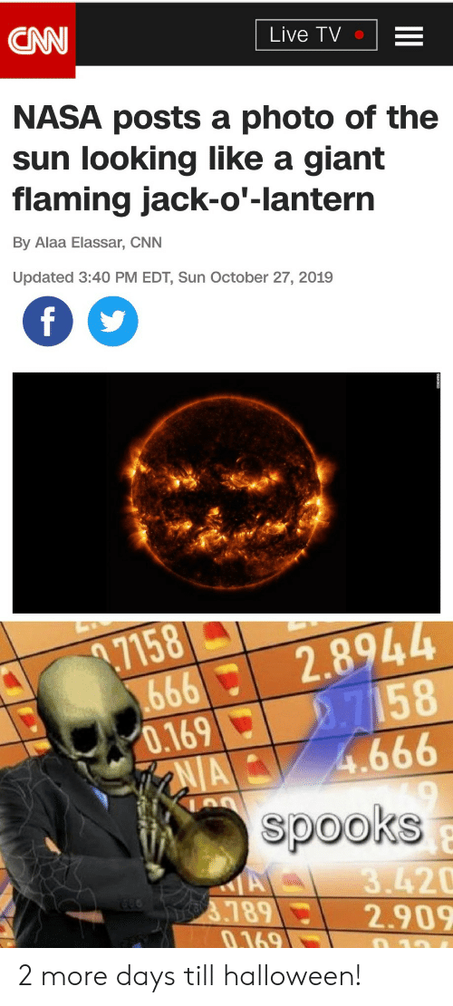 NASA: CNN  Live TV  NASA posts a photo of the  sun looking like a giant  flaming jack-o'-lantern  By Alaa Elassar, CNN  Updated 3:40 PM EDT, Sun October 27, 2019  f  .7158  666  0.169  AIA  2.8944  2.7158  4.666  spooks  A  3789  0.169  3.420  2.909  10 2 more days till halloween!