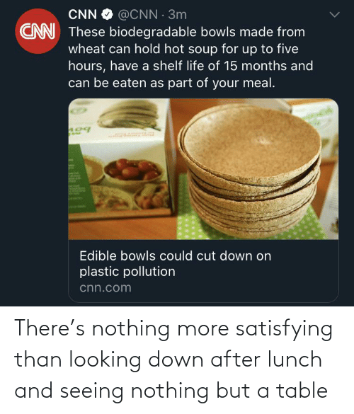 Be Eaten: CNN O @ČNN · 3m  CN These biodegradable bowls made from  wheat can hold hot soup for up to five  hours, have a shelf life of 15 months and  can be eaten as part of your meal.  Edible bowls could cut down on  plastic pollution  cnn.com There's nothing more satisfying than looking down after lunch and seeing nothing but a table