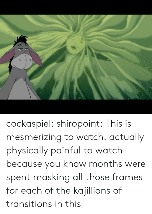 Target, Tumblr, and Blog: cockaspiel:  shiropoint:  This is mesmerizing to watch.  actually physically painful to watch because you know months were spent masking all those frames for each of the kajillions of transitions in this