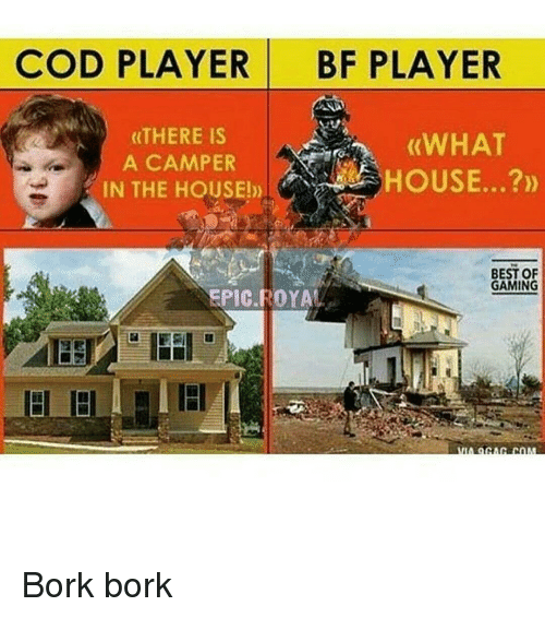 Børk: COD PLAYER BF PLAYER  (THERE IS  (WHAT  A CAMPER  IN THE HOUSE!  BEST OF  GAMING  ROYAL Bork bork