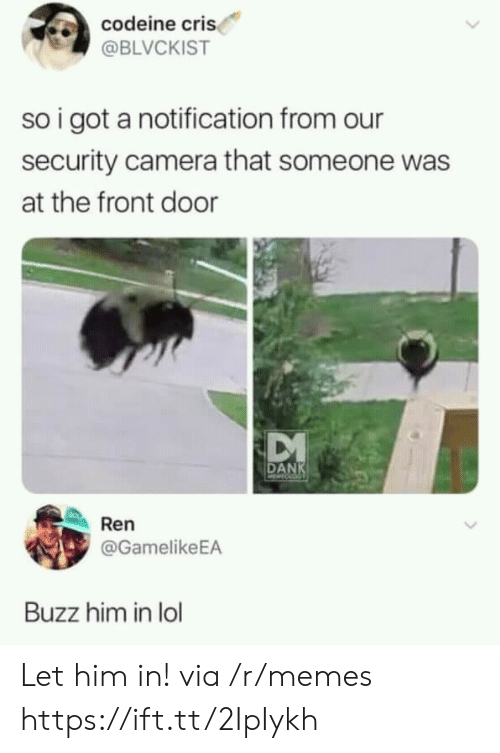 Cri: codeine cri  @BLVCKIST  so i got a notification from our  security camera that someone was  at the front door  DANK  Ren  @GamelikeEA  Buzz him in lol Let him in! via /r/memes https://ift.tt/2IpIykh