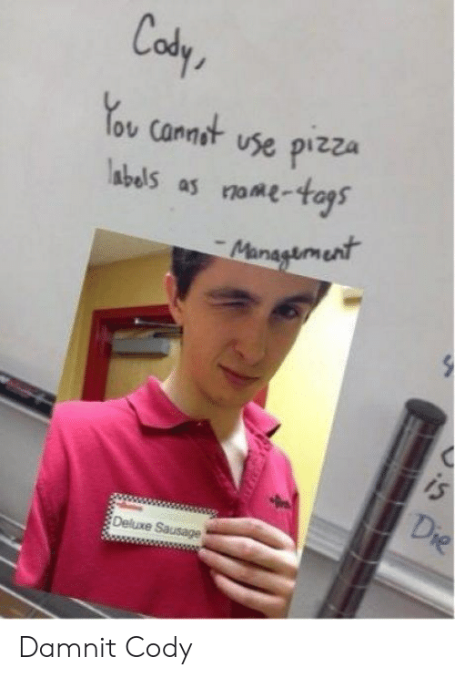Pizza, You, and Use: Cody  You canst use pizza Damnit Cody