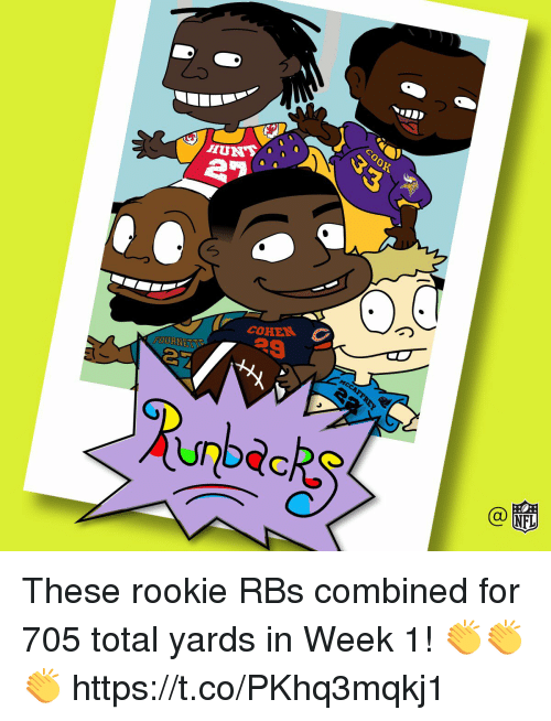 Memes, 🤖, and Total: COHEN  FOURNETT These rookie RBs combined for 705 total yards in Week 1! 👏👏👏 https://t.co/PKhq3mqkj1