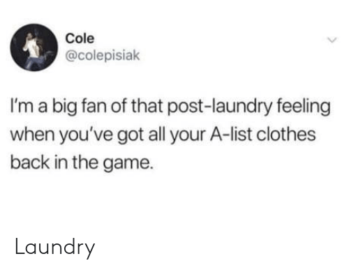 Clothes, Laundry, and The Game: Cole  @colepisiak  I'm a big fan of that post-laundry feeling  when you've got all your A-list clothes  back in the game Laundry
