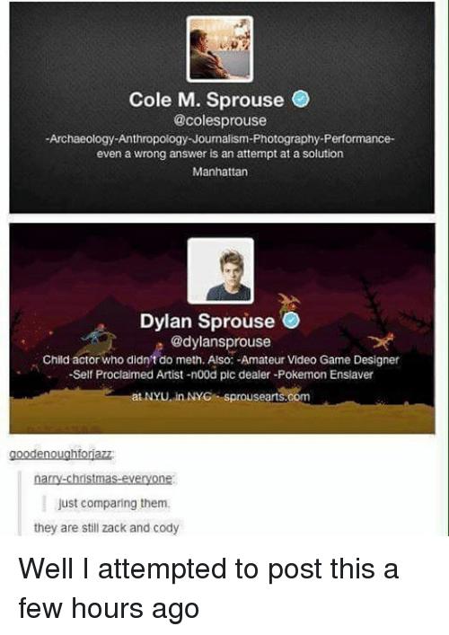 Christmas, Memes, and Pokemon: Cole M. Sprouse  @coles prouse  Archaeology Anthropology Journalism-Photography-Performance-  even a wrong answer is an attempt at a solution  Manhattan  Dylan Sprouse  @dylans prouse  Child actor who didn't do meth. Also: -Amateur Video Game Designer  -Self Proclaimed Artist -n00d pic dealer-Pokemon Ensiaver  NYU in NYC Sprousearts.com  en  narry-christmas-everyone  Just comparing them.  they are still zack and cody Well I attempted to post this a few hours ago