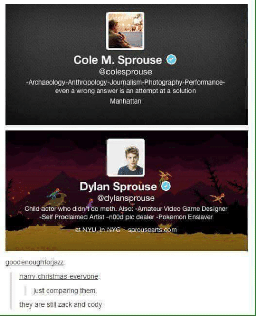 Christmas, Funny, and Pokemon: Cole M. Sprouse  @colesprouse  -Archaeology Anthropology Journalism-Photography-Performance-  even a wrong answer is an attempt at a solution  Manhattan  Dylan Sprouse  @dylansprouse  Child actor who didn't do meth. Also: -Amateur Video Game Designer  Self Proclaimed Artist -n00d pic dealer-Pokemon Ensiaver  at NYU in NYC sprousearts.co  oodenoughforjazz  -Christmas everyone  just comparing them.  they are still zack and cody