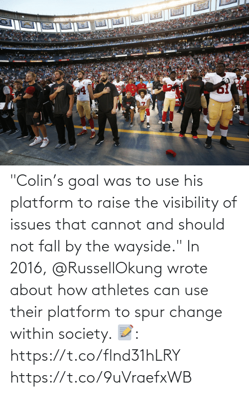 """In 2016: """"Colin's goal was to use his platform to raise the visibility of issues that cannot and should not fall by the wayside.""""  In 2016, @RussellOkung wrote about how athletes can use their platform to spur change within society.   📝: https://t.co/flnd31hLRY https://t.co/9uVraefxWB"""