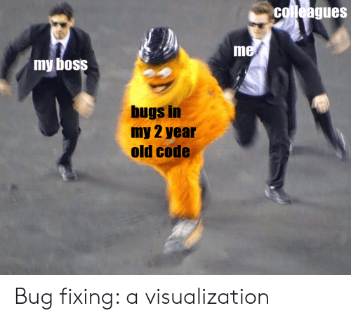 my boss: colleagues  me  my boss  bugs in  my 2 year  old code Bug fixing: a visualization