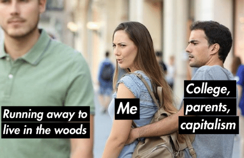 in the woods: College,  parents,  capitalism  Me  Running away to  live in the woods