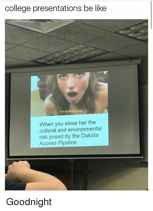 Dakota Access pipeline: college presentations be like  It's so fucking big.  When you show her the  cultural and environmental  risk posed by the Dakota  Access Pipeline Goodnight