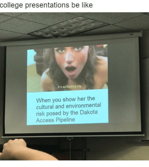Dakota Access pipeline: college presentations be like  It's so fucking big.  When you show her the  cultural and environmental  risk posed by the Dakota  Access Pipeline