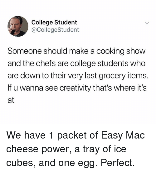 Ice Cubes: College Student  @CollegeStudent  Someone should make a cooking shovw  and the chefs are college students who  are down to their very last grocery items  If u wanna see creativity that's where it's  at We have 1 packet of Easy Mac cheese power, a tray of ice cubes, and one egg. Perfect.