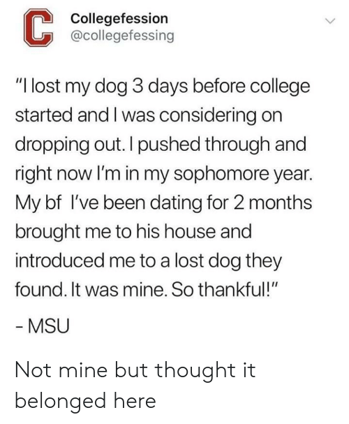 """College, Dating, and Lost: Collegefession  @collegefessing  """"I lost my dog 3 days before college  started and I was considering on  dropping out. I pushed through and  right now lI'm in my sophomore year.  My bf I've been dating for 2 months  brought me to his house and  introduced me to a lost dog they  found. It was mine. So thankful!""""  MSU Not mine but thought it belonged here"""