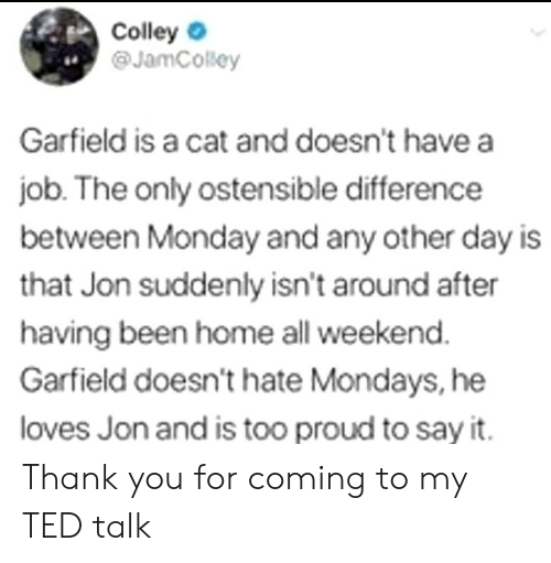 Mondays: Colley  @JamCosey  4.  Garfield is a cat and doesn't have a  job. The only ostensible difference  between Monday and any other day is  that Jon suddenly isn't around after  having been home all weekend  Garfield doesn't hate Mondays, he  loves Jon and is too proud to say it. Thank you for coming to my TED talk