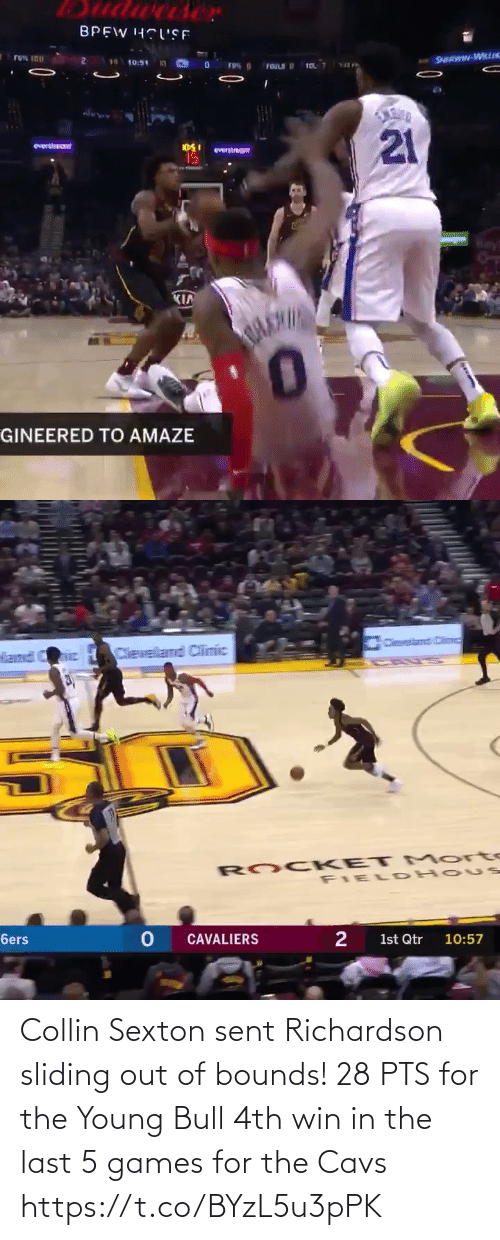 cavs: Collin Sexton sent Richardson sliding out of bounds!  28 PTS for the Young Bull 4th win in the last 5 games for the Cavs  https://t.co/BYzL5u3pPK