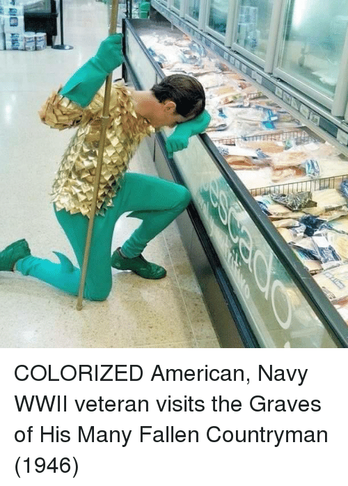 graves: COLORIZED American, Navy WWII veteran visits the Graves of His Many Fallen Countryman (1946)