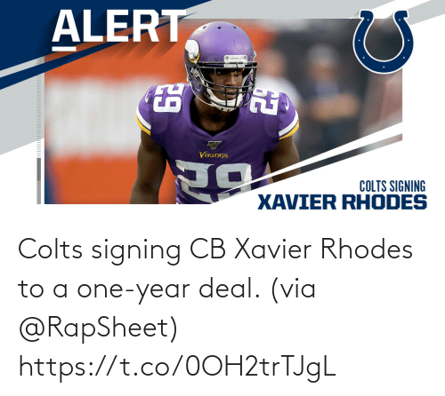 One Year: Colts signing CB Xavier Rhodes to a one-year deal. (via @RapSheet) https://t.co/0OH2trTJgL