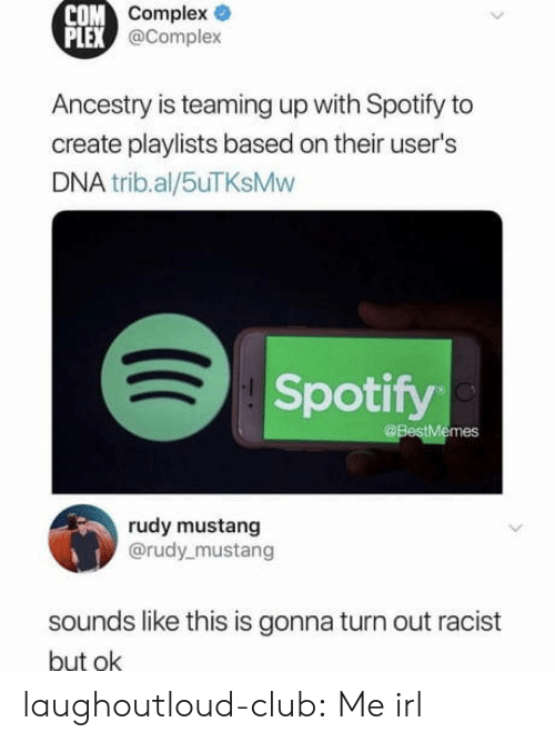 Ancestry: COM  Complex  PLEX  @Complex  Ancestry is teaming up with Spotify to  create playlists based on their user's  DNA trib.al/5uTKsMw  Spotify  @BestMemes  rudy mustang  @rudy mustang  sounds like this is gonna turn out racist  but ok laughoutloud-club:  Me irl