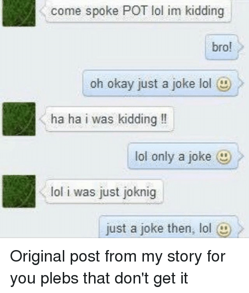 Lol, Memes, and Okay: come spoke POT lol im kidding  bro!  oh okay just a joke lol  ha ha i was kidding!  lol only a joke )  lol i was just joknig  just a joke then, lol @ Original post from my story for you plebs that don't get it