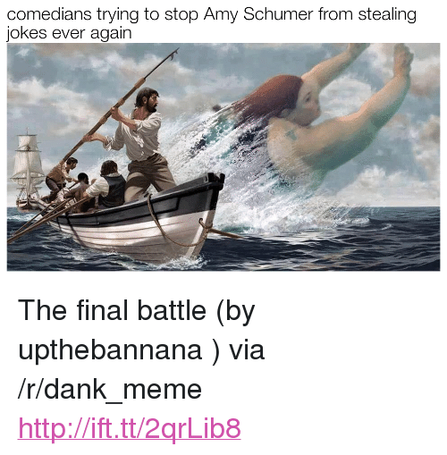 "Amy Schumer, Dank, and Meme: comedians trying to stop Amy Schumer from stealing  jokes ever again <p>The final battle (by upthebannana ) via /r/dank_meme <a href=""http://ift.tt/2qrLib8"">http://ift.tt/2qrLib8</a></p>"