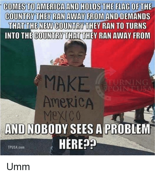 America, Memes, and 🤖: COMES TOAMERICA AND HOLDS THE FLAG OF T  COUNTRY THEY RAN AWAY FROM AND DEMANID  THAT THE NEW COUNTRY THEY RAN TO TURNS  INTO THE COUNTRY THAT THEY RAN AWAY FROM  MAKE  AMERICA  Mex(CO  AND NOBODY SEES A PROBLEM  HERE  TPUSA.com Umm