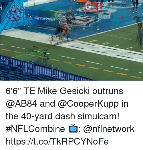 """Comi: COMI  18 6'6"""" TE Mike Gesicki outruns @AB84 and @CooperKupp in the 40-yard dash simulcam! #NFLCombine  📺: @nflnetwork https://t.co/TkRPCYNoFe"""