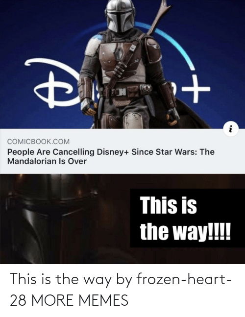 the way: COMICBOOK.COM  People Are Cancelling Disney+ Since Star Wars: The  Mandalorian Is Over  This is  the way!!! This is the way by frozen-heart-28 MORE MEMES