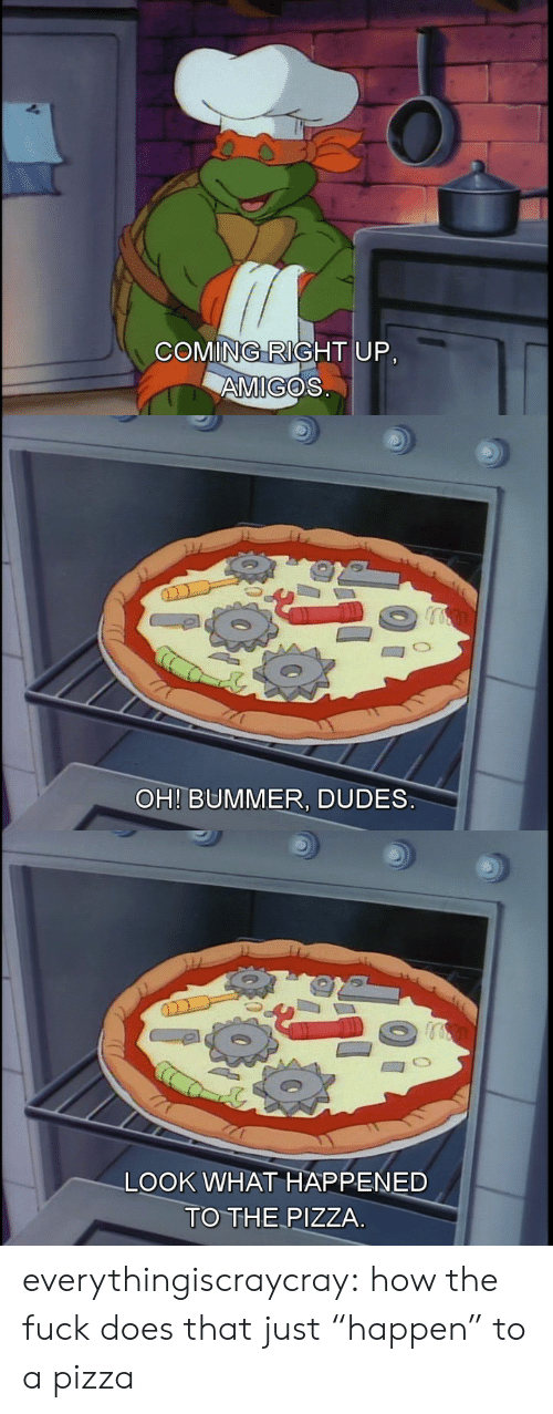 """bummer: COMING RIGHT UP.  AMIGOS   OH! BUMMER, DUDES   LOOK WHAT HAPPENED  TO THE PIZZA everythingiscraycray:  how the fuck does that just """"happen"""" to a pizza"""