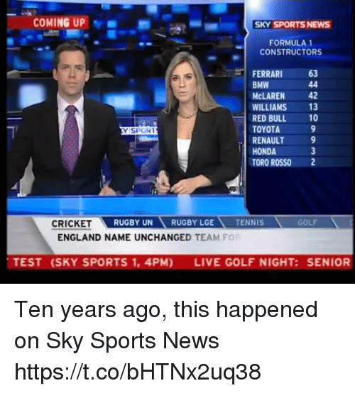 astrologymemes.com: COMING UP  SKY SPORTS NEWS  FORMULA1  CONSTRUCTORS  FERRARI 63  BMW  McLAREN 42  WILLIAMS 13  RED BULL 10  TOYOTA  RENAULT 9  HONDA  TORO ROSSO 2  SPOR  RUGBY UNRUGBY LGE  TENNIS  GOLF  ENGLAND NAME UNCHANGED TEAM FOR  TEST (SKY SPORTS 1, 4PM)  LIVE GOLF NIGHT: SENIOR Ten years ago, this happened on Sky Sports News https://t.co/bHTNx2uq38
