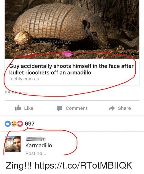 Bulletted: COMMENTAWARD  34  uy accidentally shoots himself in the face after  bullet ricochets off an armadillo  techly.com.au  98  Like  Comment  Share  697  Karmadillo  Posting.. Zing!!! https://t.co/RTotMBIIQK