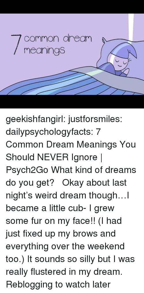 cub: common aream  meanings geekishfangirl:  justforsmiles:  dailypsychologyfacts:  7 Common Dream Meanings You Should NEVER Ignore | Psych2Go What kind of dreams do you get?  Okay about last night's weird dream though…I became a little cub- I grew some fur on my face!! (I had just fixed up my brows and everything over the weekend too.) It sounds so silly but I was really flustered in my dream.   Reblogging to watch later