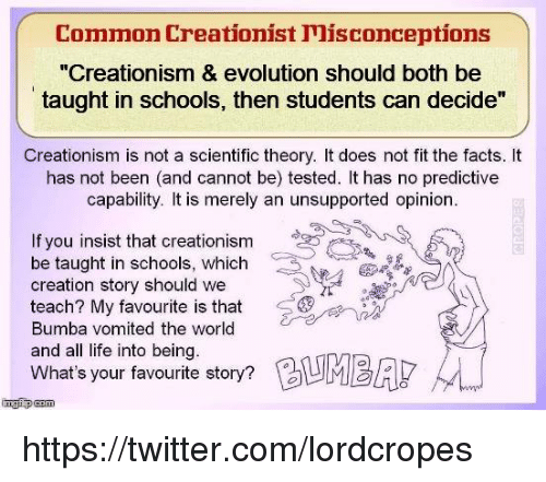 should we allow the religious theory creationism to be taught in schools The issue could easily be simplified to whether religion should be taught next to science in schools according to united states federal law, the answer is no, and i agree.