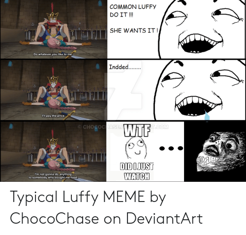 Luffy Meme: COMMON LUFFY  DO IT!  SHE WANTS IT!  Do whatever you like to me.  Indded..  C'l pay the price  CHOCOCHASE.D F  T.COM  DIDIJUST  WATCH  I'm not gonna do anything  to somebody who bought me food. Typical Luffy MEME by ChocoChase on DeviantArt