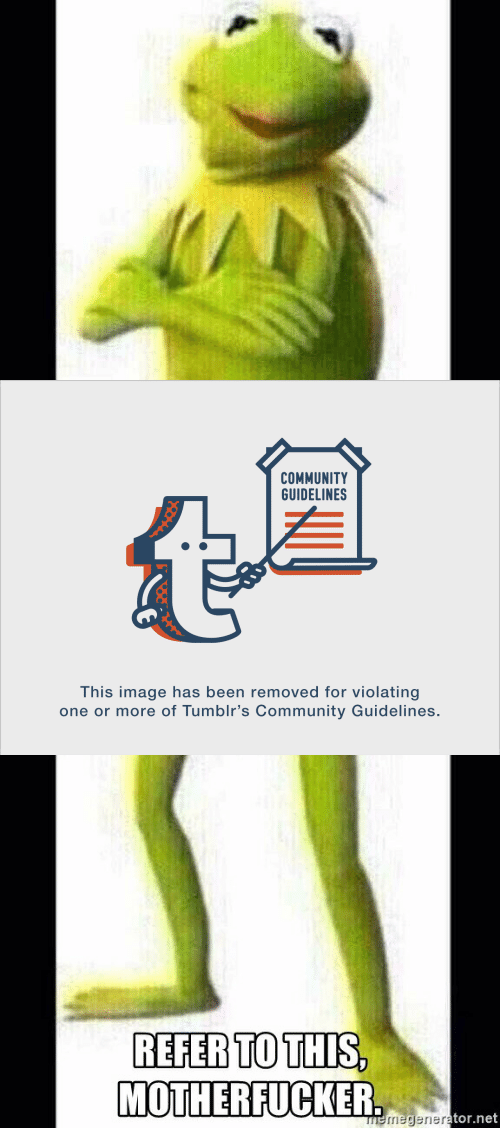Memegener: COMMUNITY  GUIDELINES  This image has been removed for violating  one or more of Tumblr's Community Guidelines.   REFER TO THIS  MOTHERFUCKER  memegener  tor.net