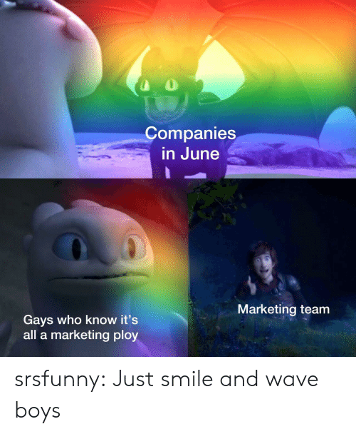 Tumblr, Blog, and Smile: Companies  in June  Marketing team  Gays who know it's  all a marketing ploy srsfunny:  Just smile and wave boys