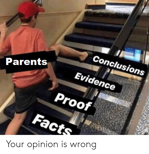 Facts, Parents, and Proof: Conclusions  Evidence  Parents  Proof  Facts Your opinion is wrong