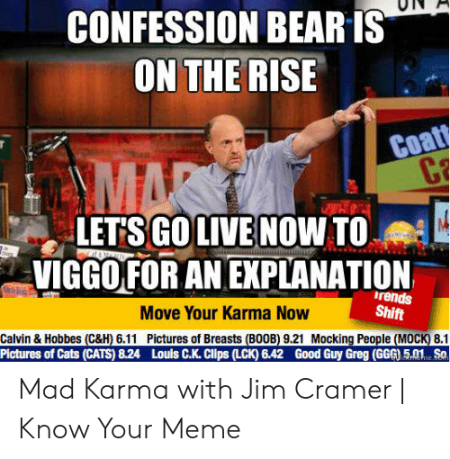 Jim Cramer: CONFESSION BEARIS  ON THE RISE  Coa  LETSGO LIVE NOW TO  VIGGO FOR AN EXPLANATION  rends  Shift  Move Your Karma Now  Calvin & Hobbes (C&H) 6.11  Pictures of Breasts (B00B) 9.21 Mocking People (MOCK) 8.1  Pictures of Cats (CATS) 8.24  Louls C.K. Clips (LCK) 6.42 Good Guy Greg (GGG) 5ne So Mad Karma with Jim Cramer   Know Your Meme