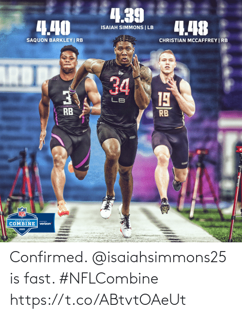 Confirmed: Confirmed. @isaiahsimmons25 is fast. #NFLCombine https://t.co/ABtvtOAeUt