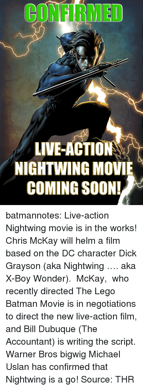 Mckay: CONFIRMED  LIVE-ACTION  NIGHTWING MOVIE  COMING SOON! batmannotes: Live-action Nightwing movie is in the works!   Chris McKay will helm a film based on the DC character Dick Grayson (aka Nightwing …. aka X-Boy Wonder). McKay, who recently directed The Lego Batman Movie is in negotiations to direct the new live-action film, and Bill Dubuque (The Accountant) is writing the script.       Warner Bros bigwig Michael Uslan has confirmed that Nightwing is a go! Source: THR
