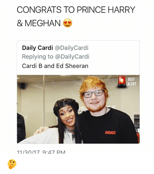 CONGRATS TO PRINCE HARRY & MEGHAN Daily Cardi Replying To