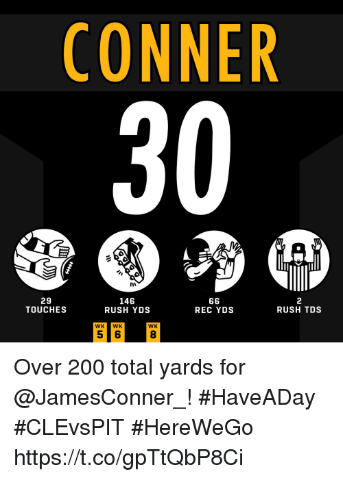 Wkwk: CONNER  30  29  TOUCHES  146  RUSH YDS  2  RUSH TDS  REC YDS  WKWK  WK  8 Over 200 total yards for @JamesConner_! #HaveADay #CLEvsPIT  #HereWeGo https://t.co/gpTtQbP8Ci