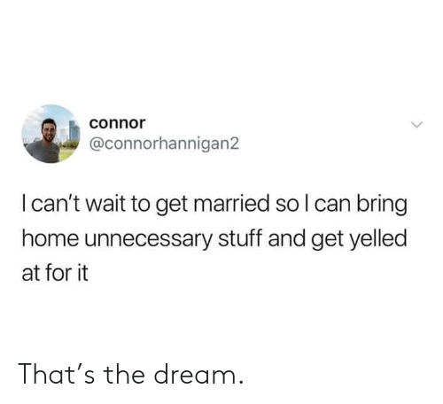 Dank, Home, and Stuff: connor  @connorhannigan2  I can't wait to get married so I can bring  home unnecessary stuff and get yelled  at for it That's the dream.