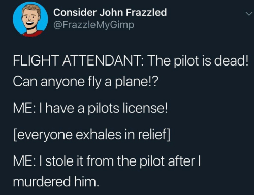 relief: Consider John Frazzled  @FrazzleMyGimp  FLIGHT ATTENDANT: The pilot is dead!  Can anyone fly a plane!?  ME: I have a pilots license!  [everyone exhales in relief]  ME: I stole it from the pilot after l  murdered him